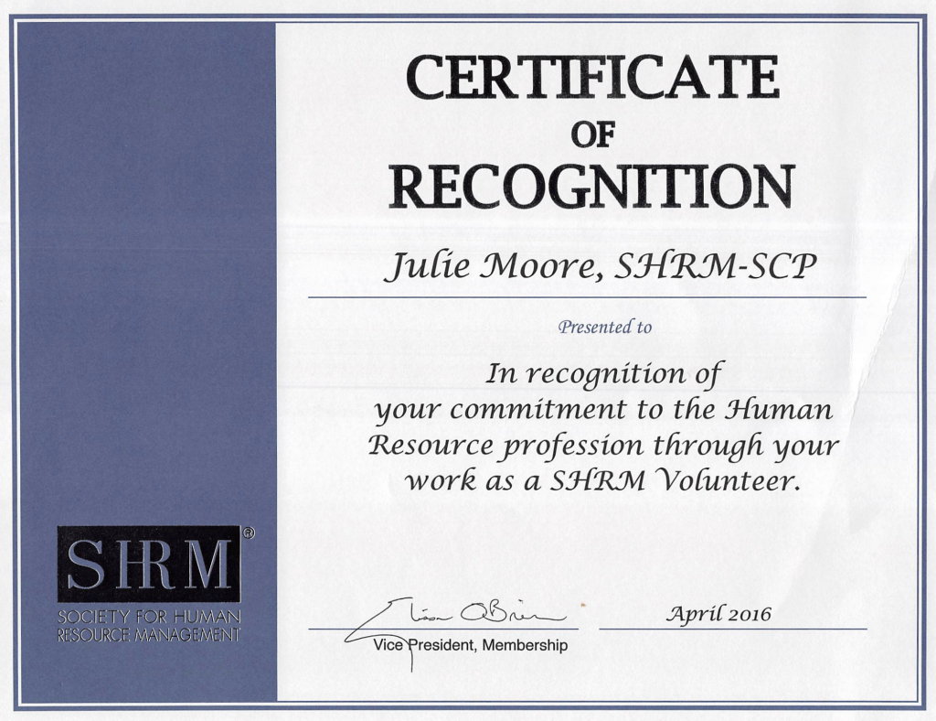 SHRM Certificate of Recognition!